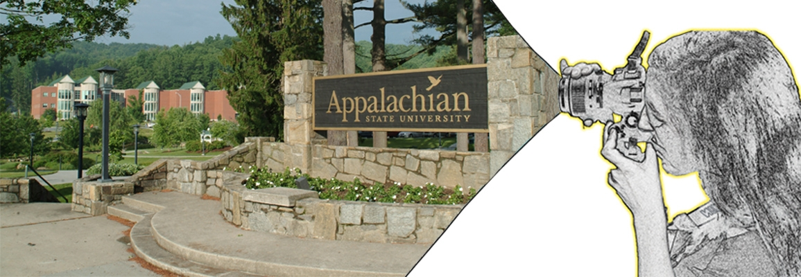 Hybrid graphic including photo of the entrance to App State University and a drawing of a person using a camera